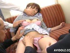 Lewd Japanese babe Reimi Fujikura gets finger fucked hard by 3 aroused daddies