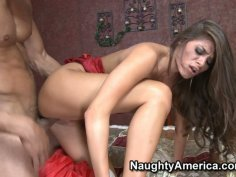 Awesome brunette slut Madelyn Marie gets pounded doggy style