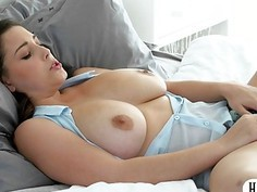 Lovely babe Noelle Easton with big tits gets pussy rammed