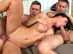 Curvy brunette Kitana Lure gets spooned and fed with a cock