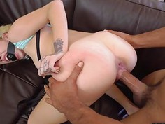 Sucking nipple while fucking that shaved pussy