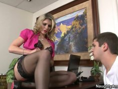 Kinky business woman Cory Chase gets her mature twat fucked mish