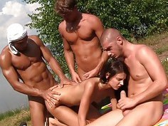 Sexy brunette in outdoor hardcore