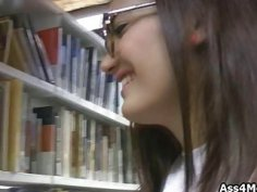 Library blowjob with Latina coed