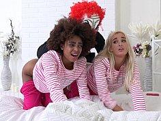 Evil clown attacks two girlfriends