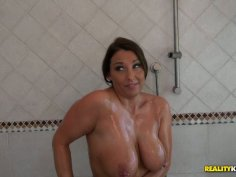 Hefty mommy takes a shower soaping her voluptuous body and later gives a quality blowjob