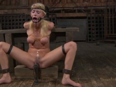 Horny nerd in glasses Allie James gets tied up for BDSM