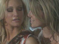 Two blonde vixens Jessica Drake and Courtney Cummz fucks two guys