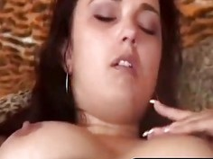 Brunette with strap on fucks her man hard